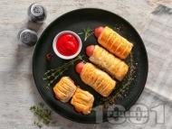 Рецепта Наденички в бутер тесто на фурна (кренвиршки с наденица)